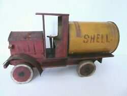 Vintage Antique Primitive Folk Art Wood And Metal Shell Oil Can Toy Truck