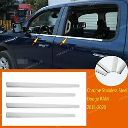 Chrome Steering Steel Window Sill Molding Cover Tirm Fit For Dodge Ram 2018-2021