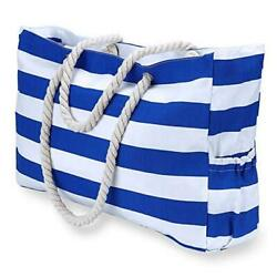 Beach Bag Extra Large Canvas Beach Tote with 100% Waterproof Phone Bluewhite $65.92