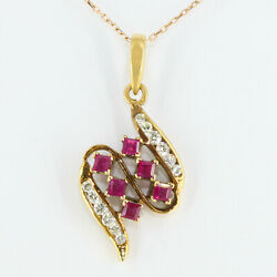 18k Gold Ruby Pendant With Natural Ruby And Diamond