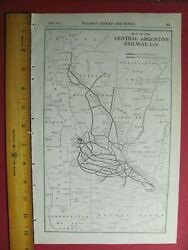 1917 Central Argentine Railway Ltd. System Map Ca Rr History Argentina