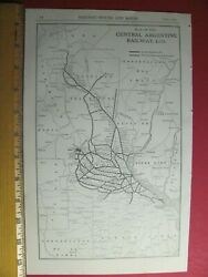 1918 Central Argentine Railway Ltd. System Map Ca Rr History Argentina