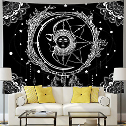 Moon and Sun Tapestry Psychedelic Bohemian Mandala Wall Tapestry Black and White