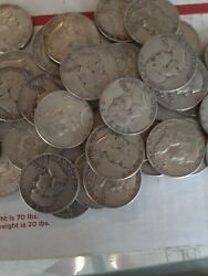 Franklin Half Dollars , 90 Silver Coin Lot, Circulated, Lot Of 20 Coins10 Face