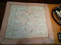 Auth Hermes 2002 Unused Very Rare 90cm Silk Scarf Les Levriers Perfect Condition