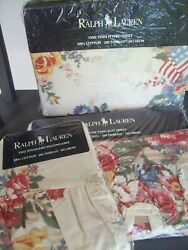New Vintage Dylanand039s Grove Floral Twin Sheet Set Ruffled Flags Usa