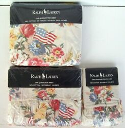 New Vintage Dylan's Grove Floral Queen Sheet Set Ruffled Flags Us