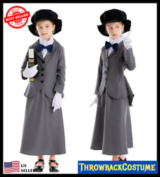 Girls Victorian English Nanny Mary Poppins Book Week Fancy Dress Costume Outfit