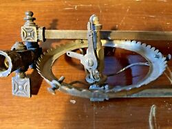 Antique Gas Light Bundle 2 Brass Wall Sconces W/ Burners And 1 Swivel Arm And 3 Ext