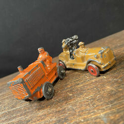 Vintage Barclay Truck Lot 2 Farm Orange Tractor Military Cannon Metal Toy