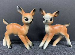 Vintage 2 Thrifco Bambi Type Fawns Deer Salt And Pepper Shakers, Japan 4 Tall