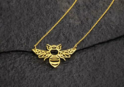 14k Solid Yellow Gold Bee Shape Necklace Pendant 17 Inch Length