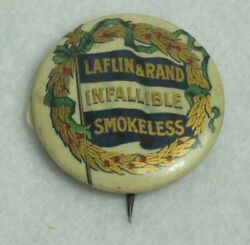 Antique Laflin And Rand Infallible Smokeless Celluloid Pinback Button Hunting Guns