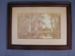 Taber Prang Art Co.copyright 1904, Woods Water Scene,signed.antique Lithograph
