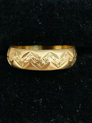 Vintage 9 Ct Rose Gold Ornate Wedding Band Stack Able Size R Rare Collectible