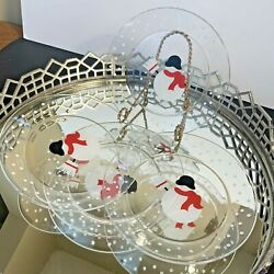 Crate And Barrel Snowman Glass Plates Set Of 4 Snow Winter Holiday Dx