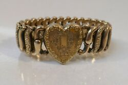 Antique American Queen Gold Fill On Sterling Expandable Sweetheart Bracelet