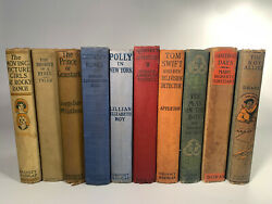Antique 10 Book Lot, Tom Swift, Polly, Moving Picture Girls And More. Hardcover