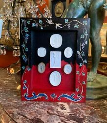 Custom Hand Painted Frame With 19th Century Grand Tour Plaster Intaglio Set