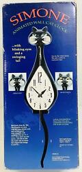 Simone Animated Wall Cat Clock w Swimming Tail amp; Moving Eyes Black *DISCOUNT