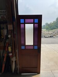 An 650 Antique Stained Glass Queen And Door 30 X 78 X 1 5/16