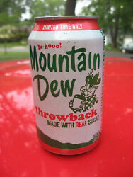 Vintage Mountain Dew Throwback 12 Oz Can Bottom Opened