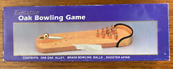 Executive Bowling Game Vintage Collectible Oak Wood Brass Pieces Fun Gift