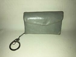 HOBO International LACY Grey Leather Tri Fold Compact Wallet Coin Zip Pocket 5x3 $24.95