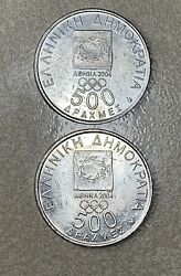 Greece 2004 Olympic Coin Lot Of 2 - 500 Drachma
