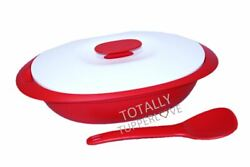 Tupperware Essentials Rice Server 7.5 Cup Dish + Serving Spoon Red And White ❤️