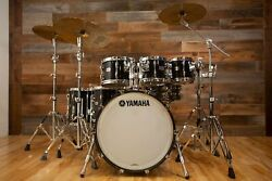 Yamaha Recording Custom 6 Piece Drum Kit Solid Black Lacquer Pre-loved