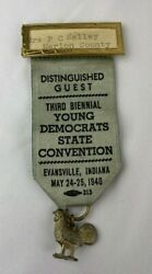 Vintage 1940 Young Democrats State Convention Evansville Indiana Badge