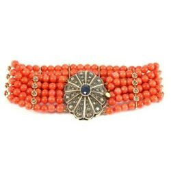 Bracelet Multi Thread In Style Goldcoralsapphire -1.5 Ct- And Diamonds -1.10-1.2