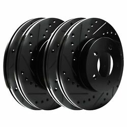 [2 Front + 2 Rear] Black Hart Drilled And Slotted Disc Brake Rotors C1133