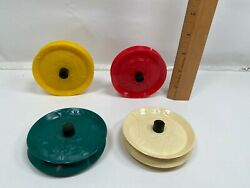 4 Vintage Easy Grip Playing Card Holders Round Plastic 1960s Northbrook