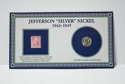 1943-s Jefferson Silver War Nickel And Stamp Otb652
