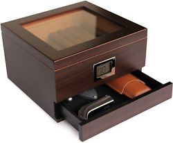 Glass Top Handcrafted Cedar Humidor With Front Digital Hygrometer, Humidifier Ge