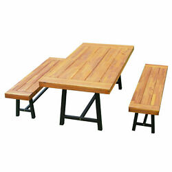 3 Pcs Rustic Acacia Wood Outdoor Large Picnic Table And Bench Seat Dining Set