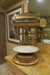 Antique Gold Barrel Top Scale With White Marble