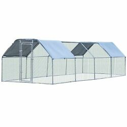 Large Chicken Coop Galvanized Metal Hen House Rabbit Hutch Poultry Cage Pen Run
