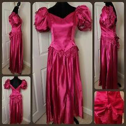 Vtg 80and039s Pink Satin Ball Gown Prom Formal Cosplay Princess Bows And Lace Dress 10