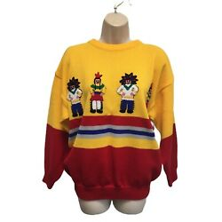 Vintage One Step Up 80s Sweater Native American Indian Dancer Patches L