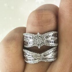 Engagement Bridal Ring Set 14k Gold 1.19 Ct Round And Baguette Genuine Diamond