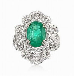 Solid 18k White Gold Natural Green Emerald Engagement Wedding Diamonds Ring