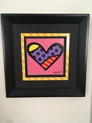 Romero Britto Numbered Authentic Framed Poster Print, Love 33/155