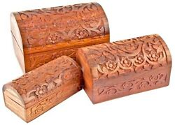 Half Round Carved Wooden Chest Boxes 3pc Set