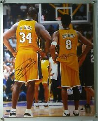 Kobe Bryant And Shaquille Shaq Oand039neal Dual Signed 16x20 Le348 Mounted Memories Coa