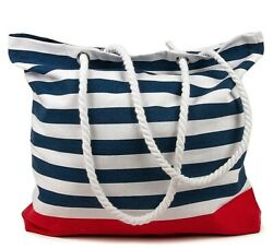 BLUE STRIPES Beach Bag Cotton Made in India 15.7x17.7 inches Tote $9.95
