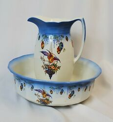 Vintage Wash Basin Pitcher 1930s Pountney And Co Of England Art Deco England