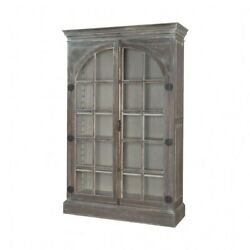 Rustic Greige Display Cabinet Made Of Glass Mahogany Solid Wood In Manor Griege